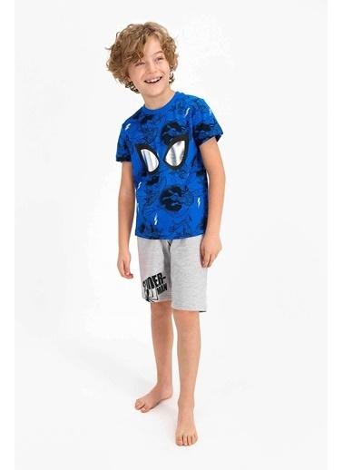 Spider-Man Spider Man Lisanslı Colbalt Mavi Erkek Çocuk Bermuda Takım Mavi
